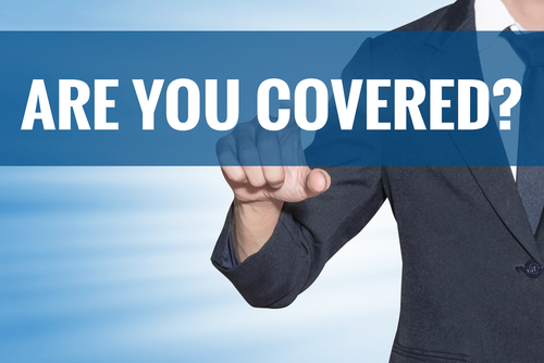 man in suit pointing outward with text overlay asking Are You Covered