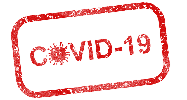 large red COVID-19 graphic