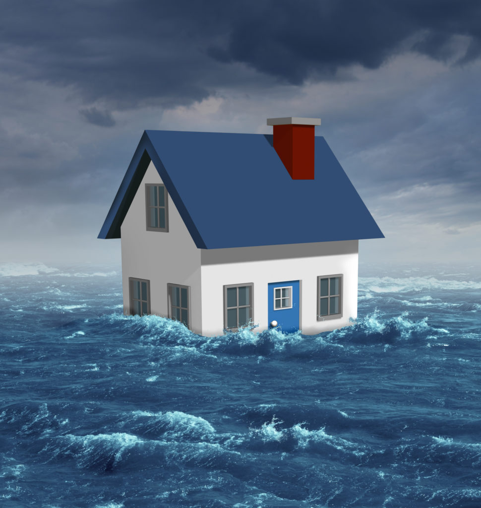 illustration of small white house with blue roof in the middle of turbulent water