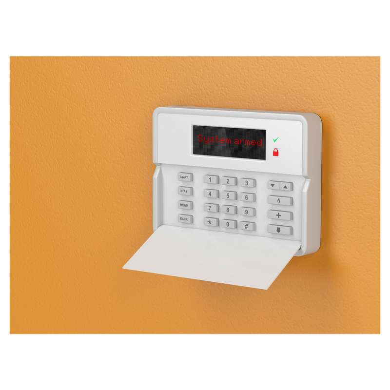 electronic security keypad mounted on orange wall with words System Armed on it