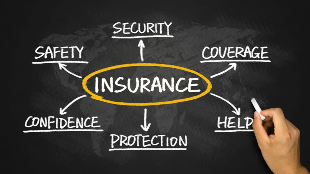 illustration of hand holding chalk with word Insurance in middle of board surrounded by several insurance terms